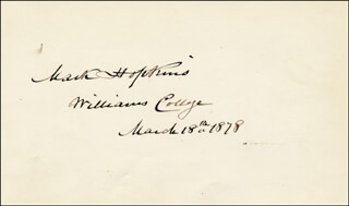 Autographs: MARK HOPKINS - SIGNATURE(S) 03/18/1878