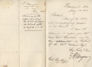 MAJOR GENERAL EDWIN D. MORGAN - AUTOGRAPH LETTER SIGNED 01/14/1863