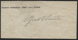 ALFRED E. SMITH - PRINTED CARD SIGNED IN INK