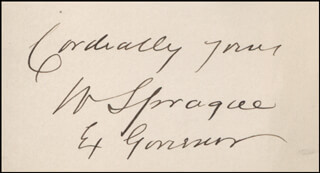 GENERAL WILLIAM SPRAGUE - AUTOGRAPH SENTIMENT SIGNED