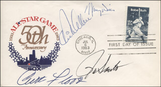 CURT FLOOD - FIRST DAY COVER SIGNED CO-SIGNED BY: MAURY WILLS, RON SANTO, DICK RICHIE ALLEN