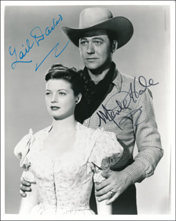 LAW OF THE GOLDEN WEST MOVIE CAST - AUTOGRAPHED SIGNED PHOTOGRAPH CO-SIGNED BY: GAIL DAVIS, MONTE HALE