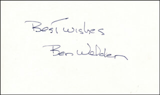 BEN WELDEN - AUTOGRAPH SENTIMENT SIGNED