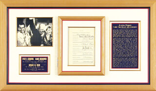 Autographs: PRESIDENT DWIGHT D. EISENHOWER - DOCUMENT SIGNED CO-SIGNED BY: IVY BAKER PRIEST, WILBER M. BRUCKER, CHARLES S. THOMAS, DONALD A. QUARLES, EZRA TAFT BENSON, JAMES CAMPBELL HAGERTY, HERBERT BROWNELL JR., MARION B. FOLSOM, CHARLES E. ENGINE CHARLIE WILSON, JOHN FOSTER DULLES, ARTHUR E. SUMMERFIELD, FIRST LADY MAMIE DOUD EISENHOWER, PRESIDENT RICHARD M. NIXON, FREDERICK A. SEATON, GEORGE M. HUMPHREY, JAMES P. MITCHELL, SINCLAIR WEEKS