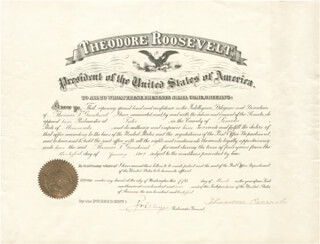 Autographs: PRESIDENT THEODORE ROOSEVELT - CIVIL APPOINTMENT SIGNED 03/05/1907 CO-SIGNED BY: GEORGE VON L. MEYER