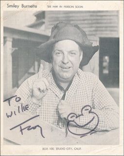 SMILEY (LESTER) BURNETTE - INSCRIBED PHOTOGRAPH SIGNED IN CHARACTER