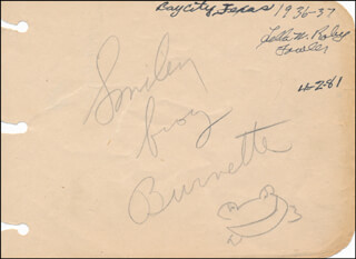 SMILEY (LESTER) BURNETTE - AUTOGRAPH  - HFSID 320999