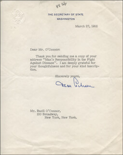 DEAN ACHESON - TYPED LETTER SIGNED 03/27/1952  - HFSID 321003