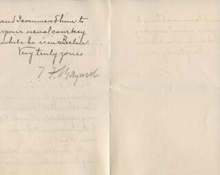 THOMAS F. BAYARD SR. - AUTOGRAPH LETTER SIGNED 07/14/1886