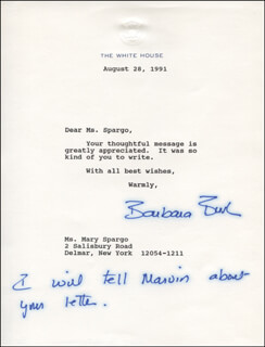 Autographs: FIRST LADY BARBARA BUSH - TYPED LETTER SIGNED 08/28/1991