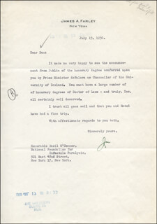 Autographs: JAMES A. FARLEY - TYPED LETTER SIGNED 07/15/1958