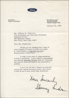 HENRY HENRY THE DEUCE FORD II - TYPED LETTER SIGNED 01/18/1968