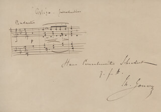 LOUIS THEODORE GOUVY - INSCRIBED AUTOGRAPH MUSICAL QUOTATION SIGNED
