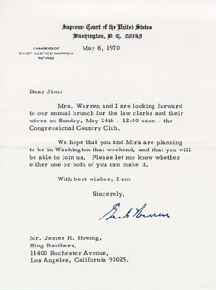 CHIEF JUSTICE EARL WARREN - TYPED LETTER SIGNED 05/08/1970