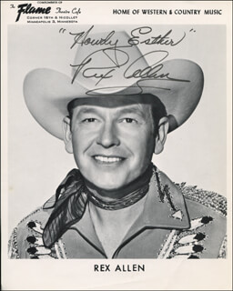 REX ALLEN - INSCRIBED PRINTED PHOTOGRAPH SIGNED IN INK