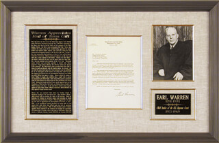 CHIEF JUSTICE EARL WARREN - TYPED LETTER SIGNED 06/04/1965