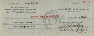 IRVING THALBERG - AUTOGRAPHED SIGNED CHECK 07/02/1923 CO-SIGNED BY: M.E. GREENWOOD