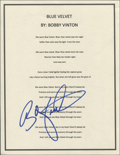 BOBBY VINTON - TYPED LYRIC(S) SIGNED