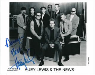 HUEY LEWIS & THE NEWS (HUEY LEWIS) - AUTOGRAPHED INSCRIBED PHOTOGRAPH  - HFSID 321111