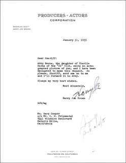 HARRY JOE BROWN - TYPED LETTER SIGNED 01/31/1955