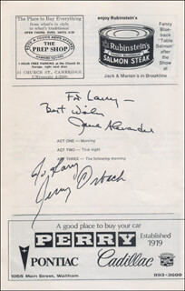 6 RMS RIV VU BROADWAY CAST - INSCRIBED SHOW BILL SIGNED CO-SIGNED BY: JERRY ORBACH, JANE ALEXANDER
