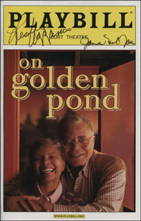 ON GOLDEN POND PLAY CAST - SHOW BILL COVER SIGNED CO-SIGNED BY: LESLIE UGGAMS, JAMES EARL JONES