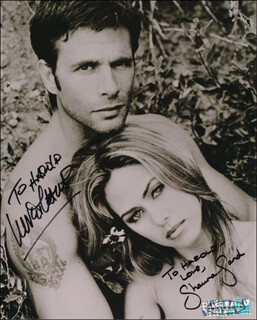 LORENZO LAMAS - AUTOGRAPHED INSCRIBED PHOTOGRAPH CO-SIGNED BY: SHAUNA SAND