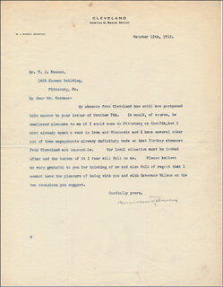 NEWTON D. BAKER - TYPED LETTER SIGNED 10/12/1912