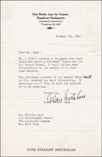 CLARE BOOTHE LUCE - TYPED LETTER SIGNED 10/18/1942