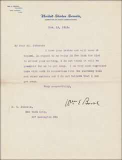 WILLIAM E. BORAH - TYPED LETTER SIGNED 11/13/1913