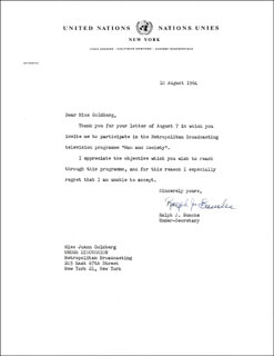 RALPH J. BUNCHE - TYPED LETTER SIGNED 08/10/1964