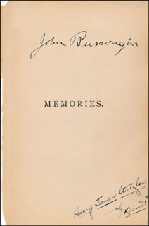 JOHN BURROUGHS - BOOK PAGE SIGNED CO-SIGNED BY: HARRY JAMES JAMES UNDERHILL LUPTON STUTZLEN