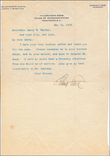 JAMES B. CHAMP CLARK - TYPED LETTER SIGNED 05/13/1912