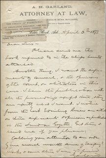 AUGUSTUS H. GARLAND - AUTOGRAPH LETTER SIGNED 04/06/1873