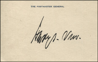 HARRY S. NEW - PRINTED CARD SIGNED IN INK