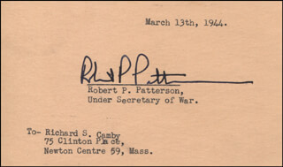 Autographs: ROBERT P. PATTERSON - TYPED NOTE SIGNED 03/13/1944