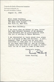 Autographs: LINUS PAULING - TYPED LETTER SIGNED 08/21/1964