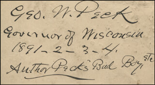 GOVERNOR GEORGE W. PECK - AUTOGRAPH 1891