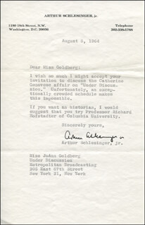 ARTHUR M. SCHLESINGER JR. - TYPED LETTER SIGNED 08/08/1964