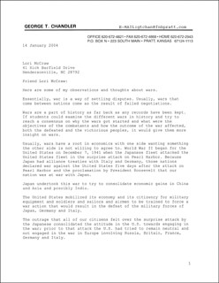 MAJOR GEORGE T. CHANDLER - TYPED LETTER SIGNED 01/14/2004
