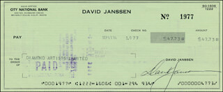 DAVID JANSSEN - AUTOGRAPHED SIGNED CHECK 09/17/1974
