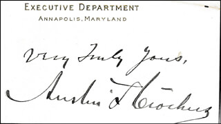 Autographs: GOVERNOR AUSTIN L. CROTHERS - AUTOGRAPH SENTIMENT ON CALLING CARD SIGNED