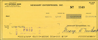 Autographs: BOB NEWHART - CHECK SIGNED 03/27/1973