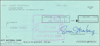 SUSAN STRASBERG - AUTOGRAPHED SIGNED CHECK 11/21/1972