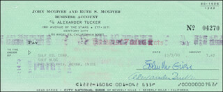 JOHN McGIVER - AUTOGRAPHED SIGNED CHECK 12/02/1970