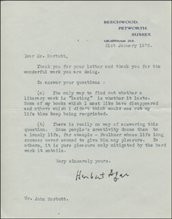 HERBERT AGAR - TYPED LETTER SIGNED 01/31/1978