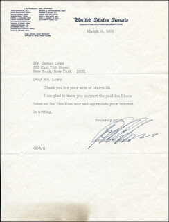 Autographs: GEORGE D. AIKEN - TYPED LETTER SIGNED 01/31/1978