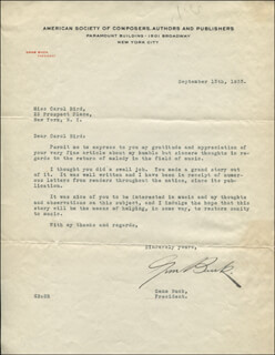 Autographs: EUGENE EDWARD GENE BUCK - TYPED LETTER SIGNED 09/13/1933