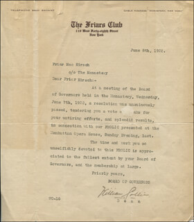 WILLIAM COLLIER - TYPED LETTER SIGNED 06/08/1922