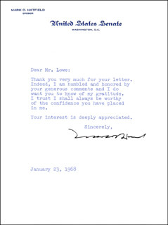 MARK O. HATFIELD - TYPED LETTER SIGNED 01/23/1968